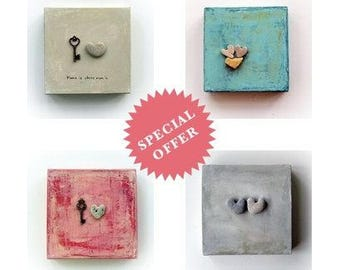 set wall decor, set of 4, lots, unique engagement gifts, special offer.  heart rocks canvas, genuine Heart shaped Beach stone rock, sale