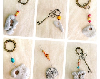 Beach Rocks Keychain, Natural rocks jewelry, Unique keychain, Drilled Beach Rocks, Handmade keychain, from Israel, colorful beads keychain