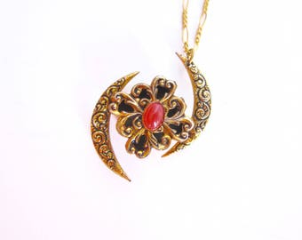 Boho Necklace Ethnic Jewelry Middle Eastern Antique Brass Filigree Charm Pendant Necklace Vintage Boho Jewelry B127