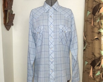 Vintage 70s Western Shirt made by  Round-Up // Light Blue Plaid Cowboy Shirt with Snap Buttons // Size M