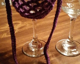 Etched monogram wine glass with crochet lanyard