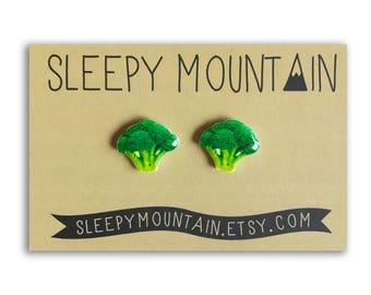 Broccoli Earrings - Veggie Stud Earrings