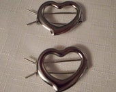 SILVER HAIR BARRETTES / Hearts / Hair Clips / Hair Jewelry / Hair Accessories / Up Do Clip / Bun Decoration / Hipster / Trendy / Rockabilly