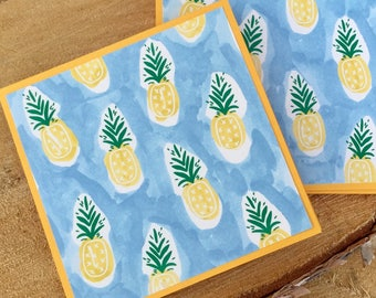Pineapple Note Cards, Set of 8 Blank Cards, Card Set with Pineapples