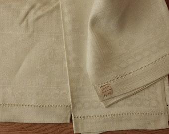 2 Vintage Cotton & Linen Damask Hand Towels  33 x 17  Un-Used NOS    OJ15