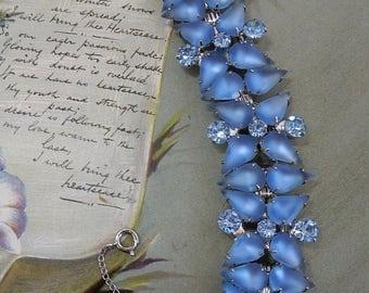 JULIANA Book Piece Frosted Cabochon Blue Rhinestone 5 Link Bracelet VERIFIED    OY16