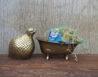 Vintage Brass Footed Bathtub. Soap Dish, Planter, Jewelry Bowl, Trinket Holder. Solid and Stable. Great Patina.