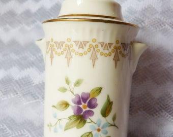MINTON English Miniature Fine Bone China Trinket Pot Floral Flowers Roman Style England