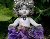 "On SALE Vintage Jeweled Rhinestones Crystals Vintage Bisque Doll - Petite Petal Doll - Original Art Decor - ""Imogen"""