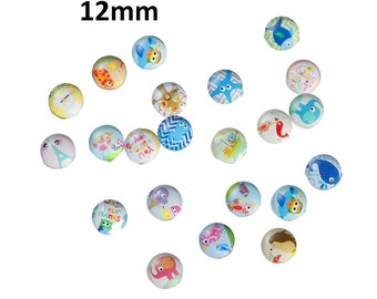 10 pcs Circle Animal Glass Round Dome Seals Tiles Cabochons - 12mm (1/2 in) - Assortment of Designs - Baby Animals