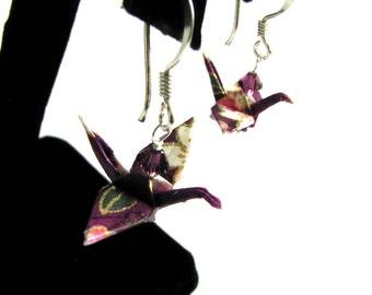 Peace Crane Earrings Purple Cranes on Sterling Silver Earwires