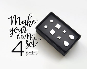 4 Geometric Stud Earrings Set / gift for her / simple cute earrings / surgical studs customize your own set modern jewelry, stainless steel