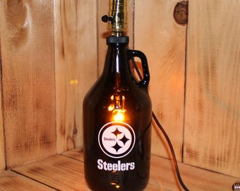 Pittsburgh Steelers Football Beer Growler Lamp with Night Light