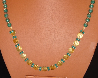 Green Jade and Brass Necklace and Earring Set