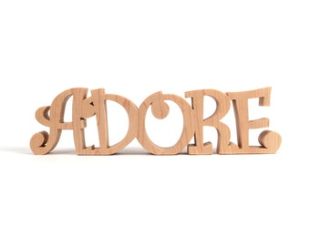 Adore Word Decoration, Valentine's Day Sign, Wooden Freestanding Wedding Word Art, Wedding Centerpiece Decoration, Love Phrases, Maple