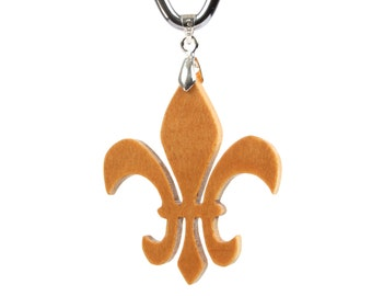 Fleur de Lis Necklace, Stylized Lily Pendant, Mardi Gras Jewelry, Hand Cut Wood Pendant, Yellowheart