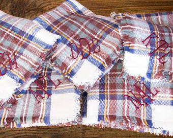 Blanket Scarf - Cream Wine Navy Green Red Camel - Monogrammed Blanket Scarves - Personalized Scarf - Plaid Scarf - Monogrammed Wrap
