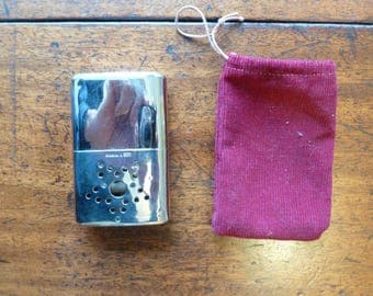 Vintage Hand Warmer - Small Chrome hunting hand warmer - Hong Kong vintage collector item -