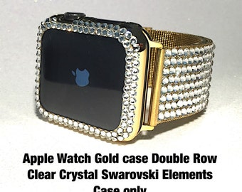 42mm GOLD Apple Watch Cover with Swarovski Elements Double Row Clear Pretty Bling Protection Case for the IWatch. A must have Crystal Bezel.