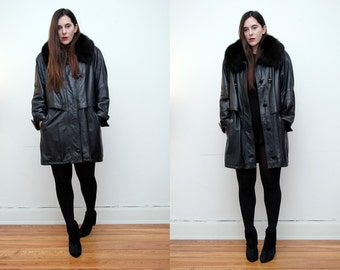 Vintage Black Real Fox Fur Real Leather Swing Cape Parka Coat