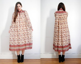 Vintage Indian Cotton Gauze Boho Dress Hippie Dress Ethnic Floral Gauze Cotton Dress 70's