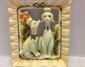 Vintage Napco Poodle Dogs Chalkware Wall Hanging Napcoware