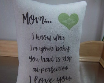 Mom pillow from favorite child gift for mom from daughter mom gift from son I love you mom throw pillow mum pillows popular mom gift ideas