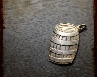 Vintage large French Armagnac Barrel Silver Medal - relief Jewelry pendant from France