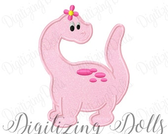 Dinosaur Girl Applique Machine Embroidery Design 4x4 5x7 6x10 Girly Flower INSTANT DOWNLOAD
