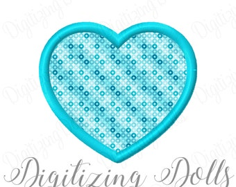 Heart Applique Machine Embroidery Design 2x2 3x3 4x4 5x5 6x6 7x7 8x8 Love Valentine Valentines Day INSTANT DOWNLOAD