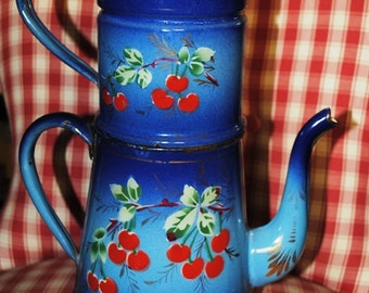 Antique Enameled  French Coffee pot in Blue with cherries