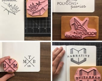 Custom Logo Stamp - Hand Carved Rubber Stamp - Any Size