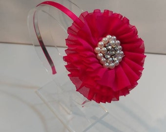 Deep Pink Headband, Headband, Ruffle Flower Headband, Beads and Rhinestones Headband, Satin Lined Headband, Birthday Gift, Ready To Ship