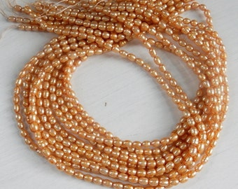 3-4mm Golden Champagne color rice  freshwater  pearls, FULL STRAND (16 inches)