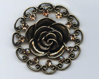 Antiqued Gold Rose Filagree Pendant with Golden colored Stones