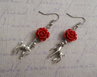 Deer fawn earrings with flowers goth and sweet lolita