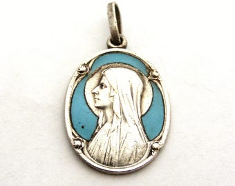 Lovely French antique Our Lady of Lourdes silver turquoise enamel pendant
