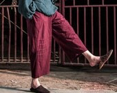 Ethnic Style/ Elastic Waist Linen Pants with Accordion Folds/ Pleated / Any Size/ 15 Colors/ RAMIES