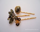 Vintage earrings hair slides - Grey gray marbled smoky charcoal slate gold floral cabochon rhinestone cluster fancy pearl hair accessories
