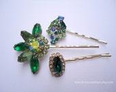 Vintage earrings hair bobbies - Emerald green blue gem clusters rhinestones unique jeweled gift girl embellish decorative hair accessories