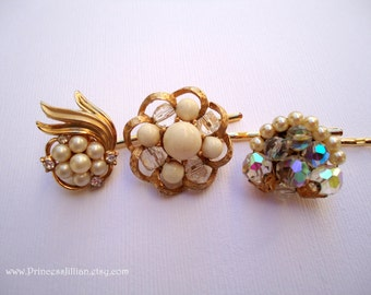 Vintage earring hair grips - White beaded cluster sparkly crystals AB floral gold fancy bridal jeweled embellish decorative hair accessories