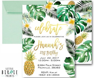 Tropical Birthday Party Invitation Tropical Adult Birthday Party Invitation Palm Pineapple Birthday Party Invitation Luau 21st Teen Tween