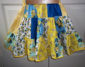 Minions Inspired Twirl Skirt Girls Clothing Outfit Birthday Party Cake Custom Size 10  Clearance  25% Off