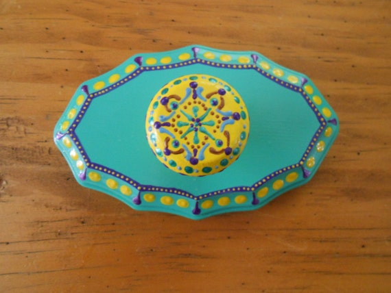 Sunny Yellow and Teal Wall Hook