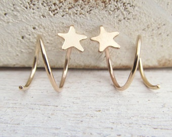 Star Earrings for Double Pierced Lobes / 2 Side by Side Ear Piercings in Gold Filled / Double Piercing / Yellow Gold Filled / Spiral Hoops