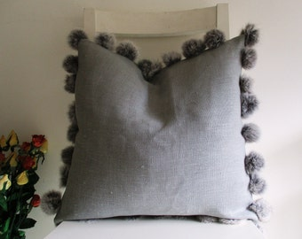 Rabbit Fur Pompons on Pure Grey Linen 16 x 16 Cushion cover