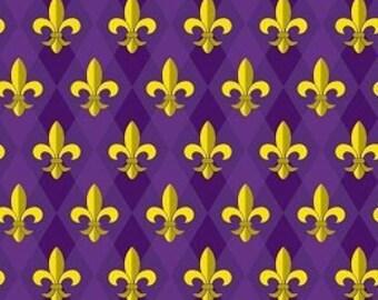 Purple and Gold Fleur De Lis Printed Vinyl