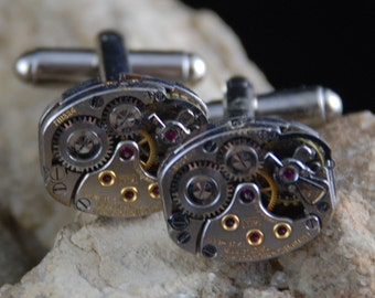 Beautiful Pair of 17 Jewels Steampunk Longines Watch Movement Cuff links CL 40