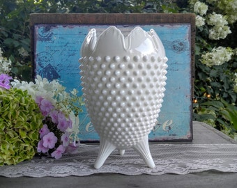 Vintage Fenton Hobnail Milk Glass Vase / Fenton Toed Milk Glass Vase / Milk Glass Centerpiece / Wedding Decor