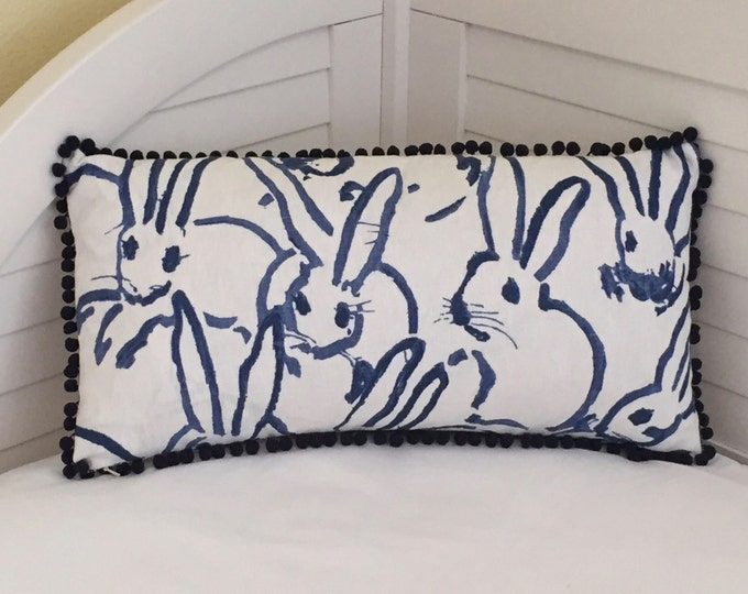 Groundworks Bunny Hutch in Navy Designer Lumbar Pillow Cover with Small Pom Pom Trim
